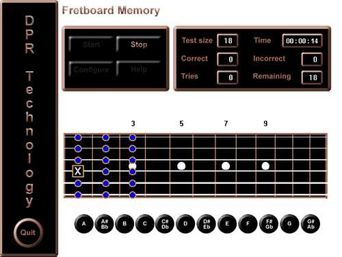 Screen shot of Fretboard Memory in click answer mode