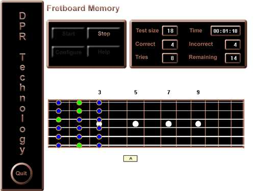 Screen shot of Fretboard Memory program depicting drag answer mode